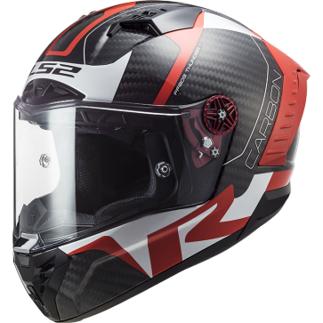 Casco  Racing1, rojo y blanco